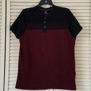 ROCK & REPUBLIC Men's Henley Burgundy/Red Shirt